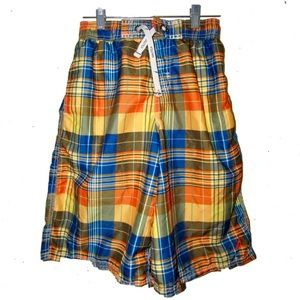 Nautica plaid swim trunks